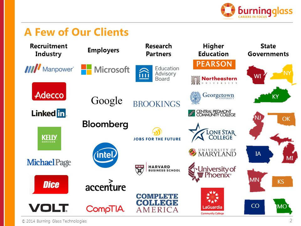 2 A Few of Our Clients Recruitment Industry Employers Research Partners Higher Education State Governments WI NY KY OK NJ KS MI IA MN CO MO © 2014 Burning Glass Technologies Google