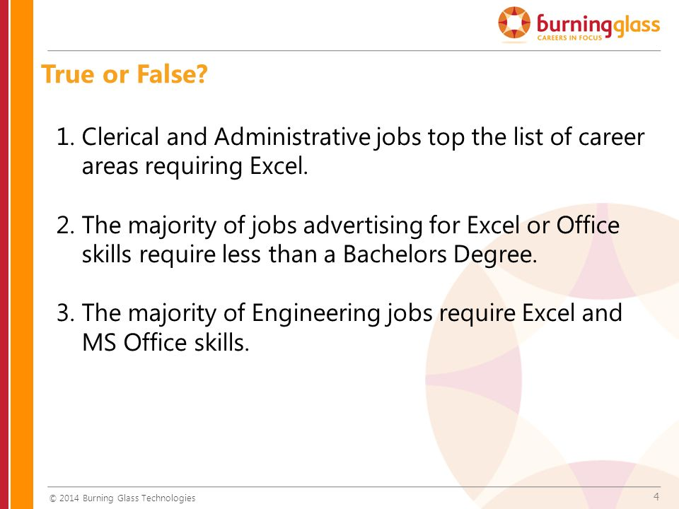 4 1.Clerical and Administrative jobs top the list of career areas requiring Excel.