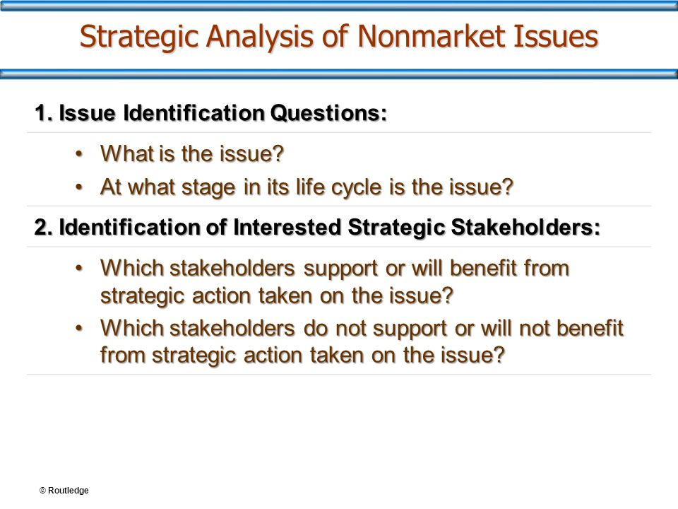 © Routledge Strategic Analysis of Nonmarket Issues 1.