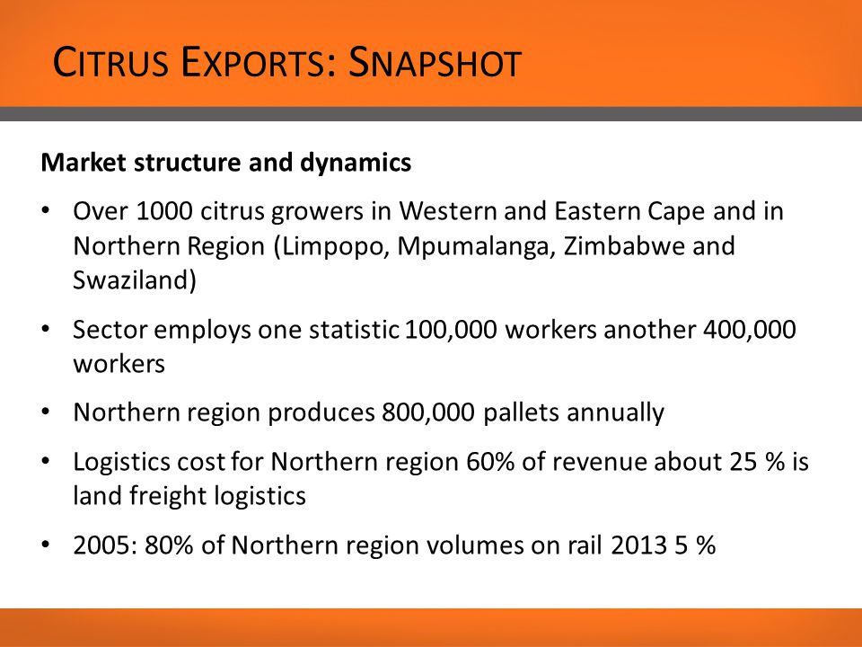 C ITRUS E XPORTS : S NAPSHOT Market structure and dynamics Over 1000 citrus growers in Western and Eastern Cape and in Northern Region (Limpopo, Mpumalanga, Zimbabwe and Swaziland) Sector employs one statistic 100,000 workers another 400,000 workers Northern region produces 800,000 pallets annually Logistics cost for Northern region 60% of revenue about 25 % is land freight logistics 2005: 80% of Northern region volumes on rail 2013 5 %