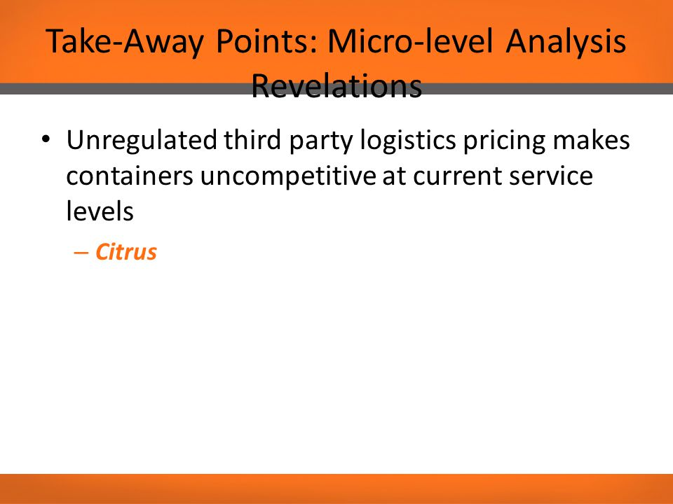 Take-Away Points: Micro-level Analysis Revelations Unregulated third party logistics pricing makes containers uncompetitive at current service levels – Citrus
