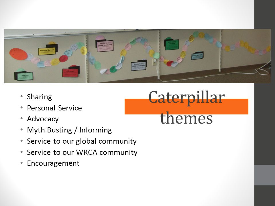 Caterpillar themes Sharing Personal Service Advocacy Myth Busting / Informing Service to our global community Service to our WRCA community Encouragem