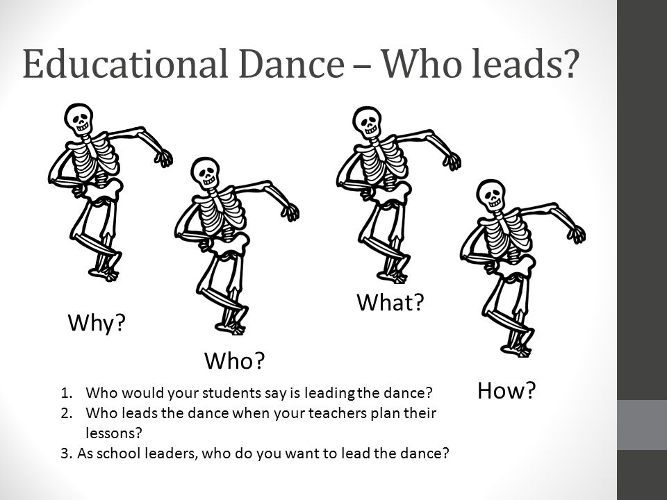 Educational Dance – Who leads? Why? Who? How? What? 1.Who would your students say is leading the dance? 2.Who leads the dance when your teachers plan
