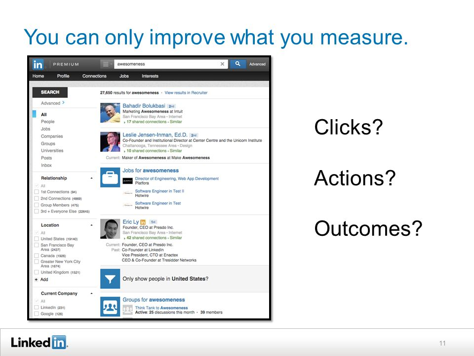 You can only improve what you measure. 11 Clicks? Actions? Outcomes?