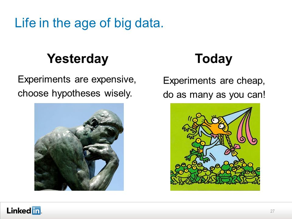 Life in the age of big data.YesterdayToday 27 Experiments are expensive, choose hypotheses wisely.