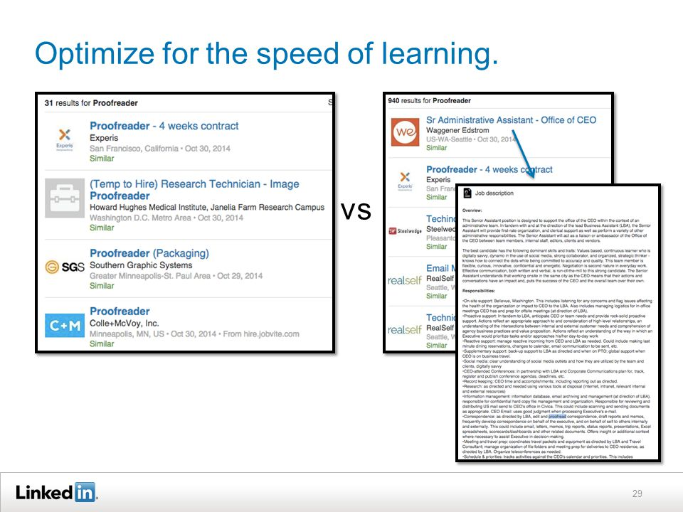 Optimize for the speed of learning. 29 vs