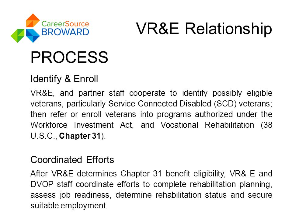 VR&E Relationship PROCESS Identify & Enroll VR&E, and partner staff cooperate to identify possibly eligible veterans, particularly Service Connected Disabled (SCD) veterans; then refer or enroll veterans into programs authorized under the Workforce Investment Act, and Vocational Rehabilitation (38 U.S.C., Chapter 31).