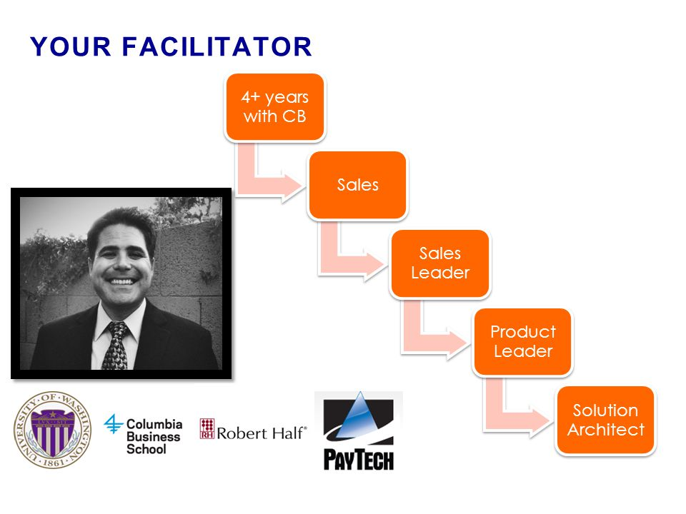 ► 2 ◄ YOUR FACILITATOR 4+ years with CB Sales Sales Leader Product Leader Solution Architect