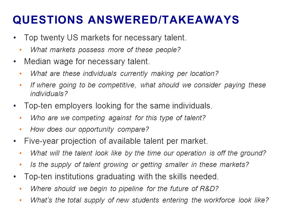 Top twenty US markets for necessary talent. What markets possess more of these people.