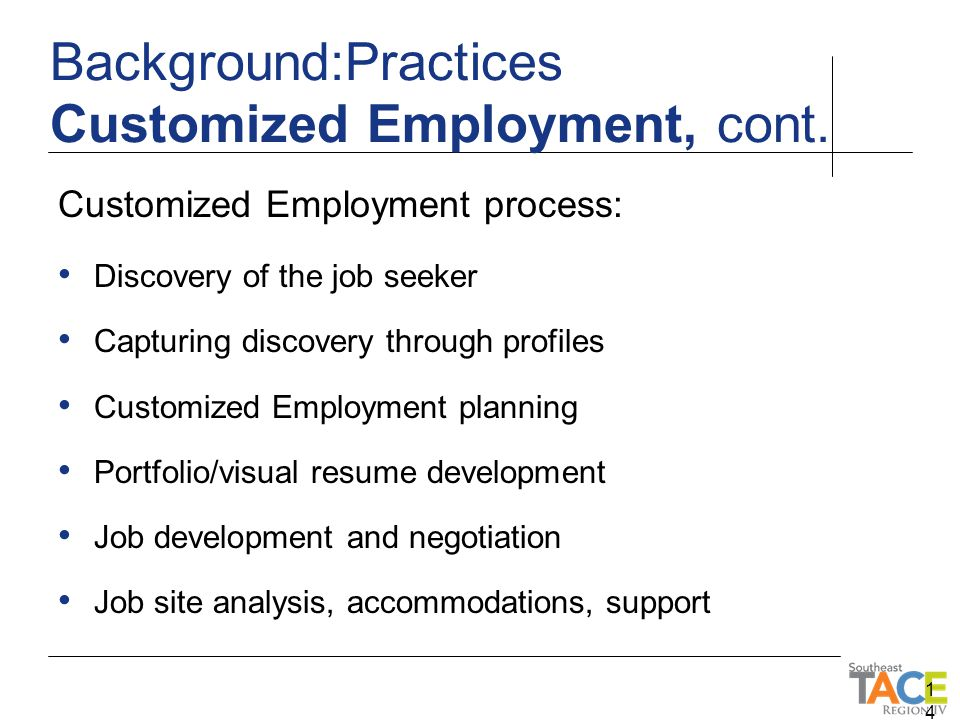 Customized Employment process: Discovery of the job seeker Capturing discovery through profiles Customized Employment planning Portfolio/visual resume