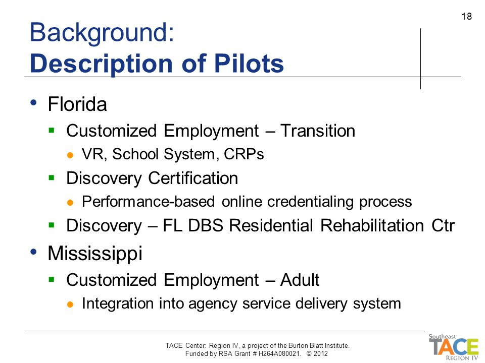 Background: Description of Pilots Florida  Customized Employment – Transition VR, School System, CRPs  Discovery Certification Performance-based onl