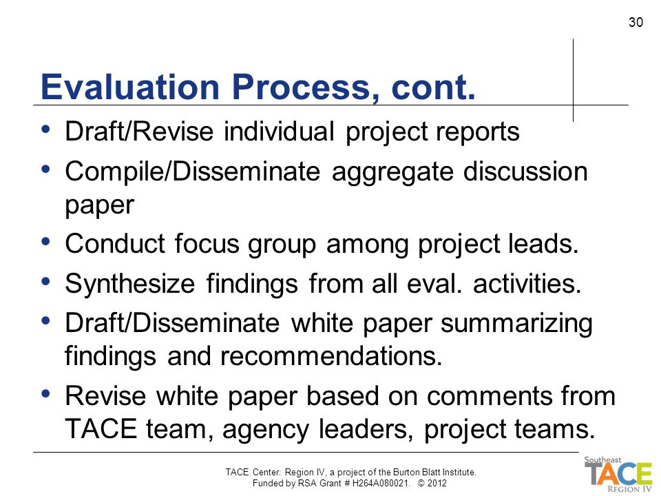 Evaluation Process, cont. Draft/Revise individual project reports Compile/Disseminate aggregate discussion paper Conduct focus group among project lea