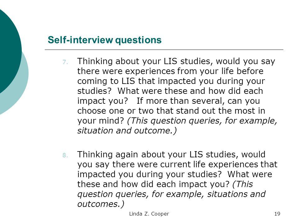 Linda Z.Cooper19 Self-interview questions 7.