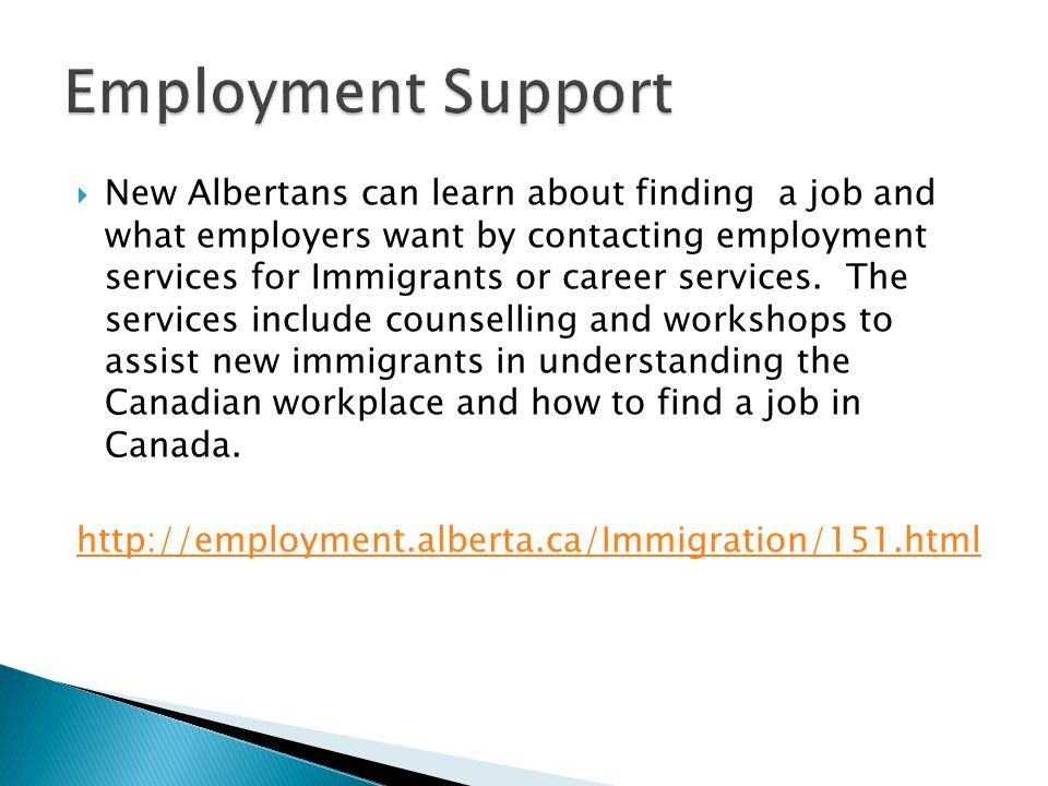  New Albertans can learn about finding a job and what employers want by contacting employment services for Immigrants or career services. The service