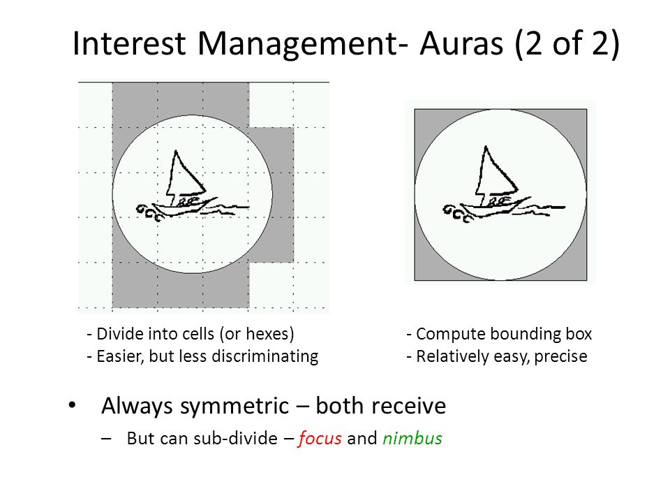 Interest Management- Auras (2 of 2) - Divide into cells (or hexes) - Easier, but less discriminating - Compute bounding box - Relatively easy, precise Always symmetric – both receive –But can sub-divide – focus and nimbus