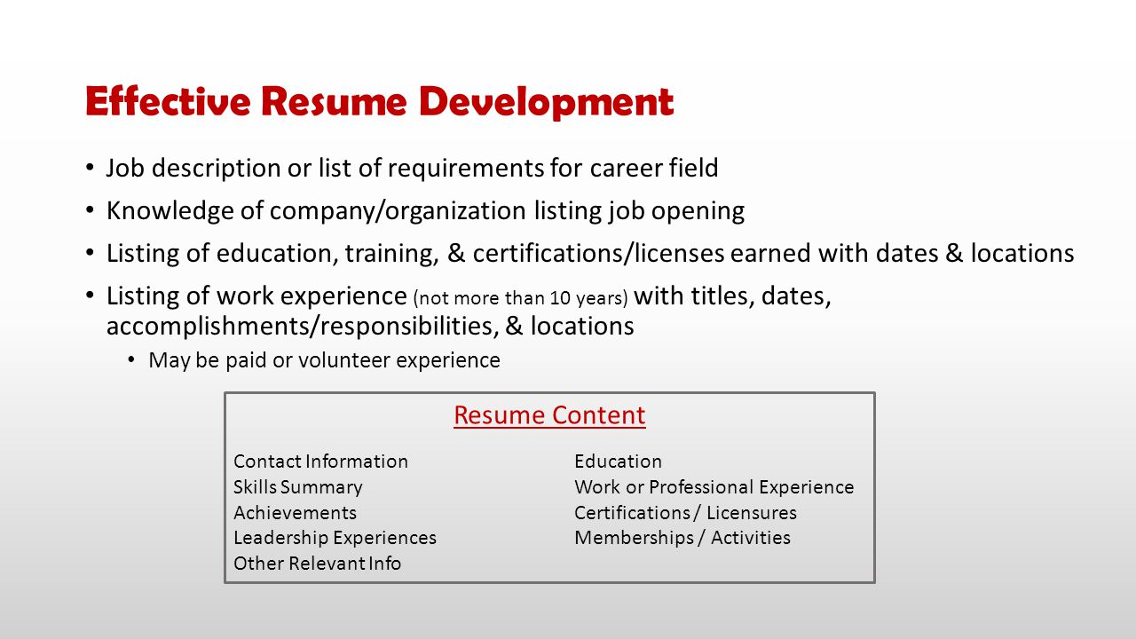 Job description or list of requirements for career field Knowledge of company/organization listing job opening Listing of education, training, & certi