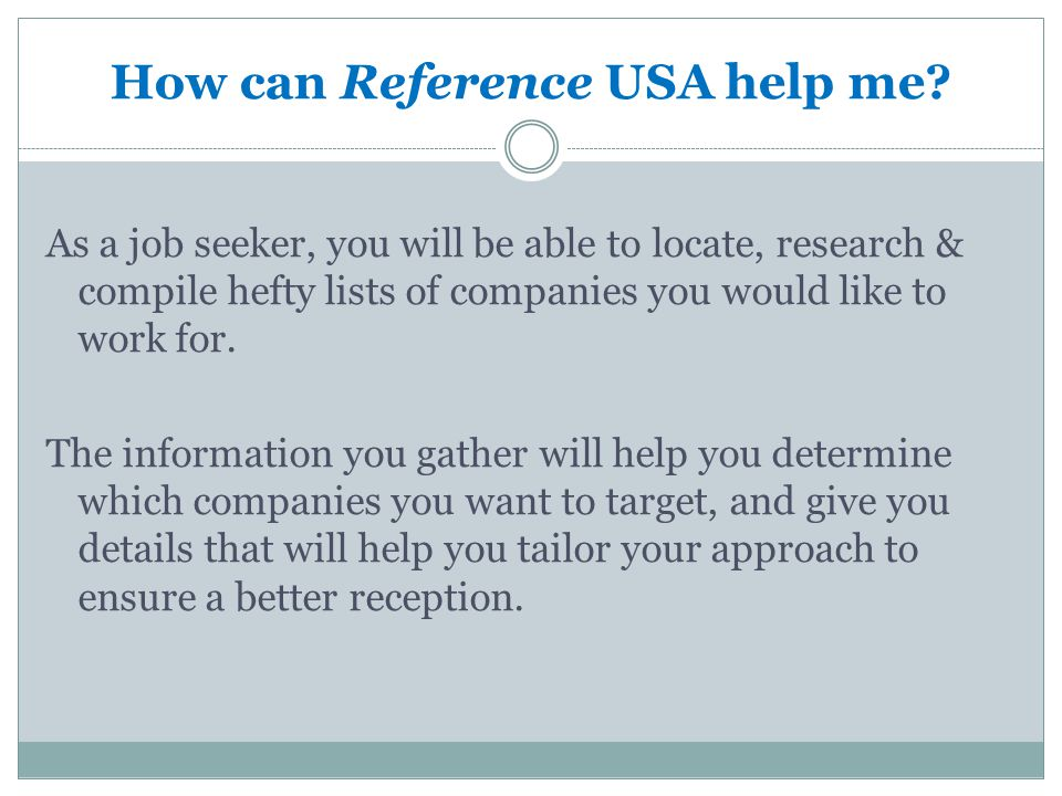 How can Reference USA help me.