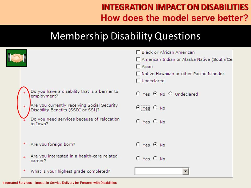 Integrated Services : Impact in Service Delivery for Persons with Disabilities Membership Disability Questions INTEGRATION IMPACT ON DISABILITIES How does the model serve better