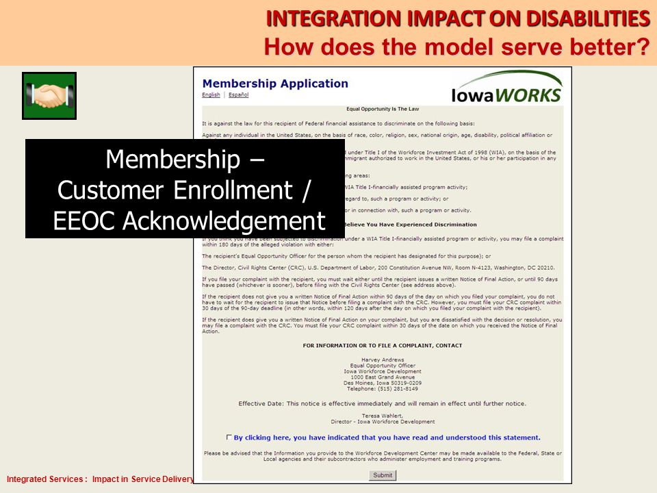 Integrated Services : Impact in Service Delivery for Persons with Disabilities Membership – Customer Enrollment / EEOC Acknowledgement INTEGRATION IMP
