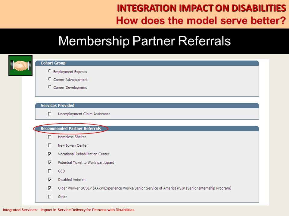 Integrated Services : Impact in Service Delivery for Persons with Disabilities Membership Partner Referrals INTEGRATION IMPACT ON DISABILITIES How doe