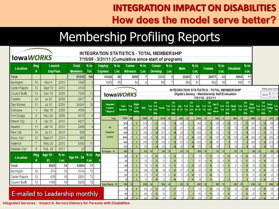 Integrated Services : Impact in Service Delivery for Persons with Disabilities Membership Profiling Reports INTEGRATION IMPACT ON DISABILITIES How doe