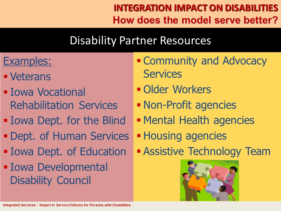 Integrated Services : Impact in Service Delivery for Persons with Disabilities Disability Partner Resources INTEGRATION IMPACT ON DISABILITIES How doe