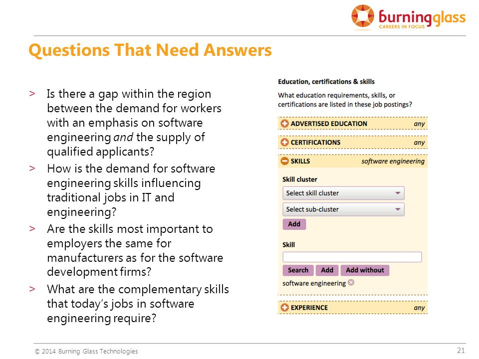 21 Questions That Need Answers >Is there a gap within the region between the demand for workers with an emphasis on software engineering and the supply of qualified applicants.