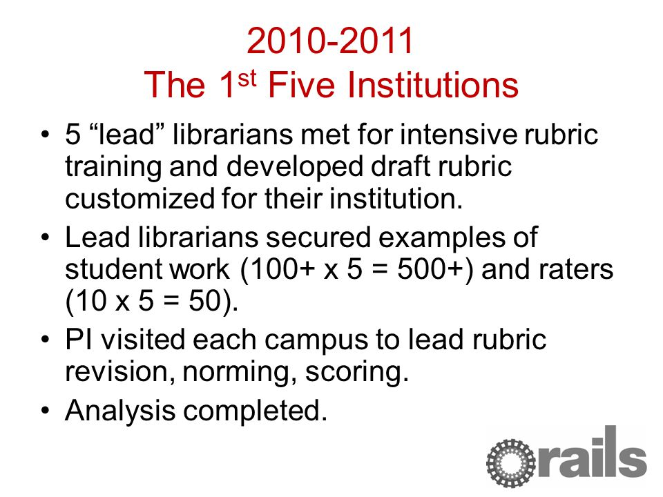 2010-2011 The 1 st Five Institutions 5 lead librarians met for intensive rubric training and developed draft rubric customized for their institution.