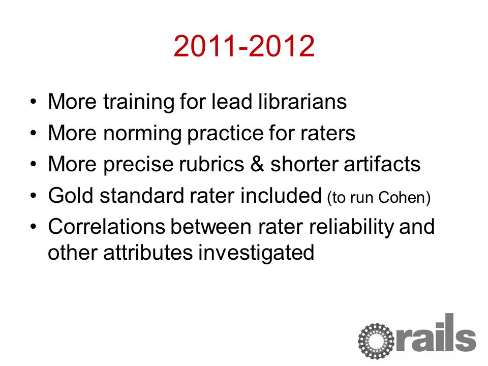 2011-2012 More training for lead librarians More norming practice for raters More precise rubrics & shorter artifacts Gold standard rater included (to run Cohen) Correlations between rater reliability and other attributes investigated