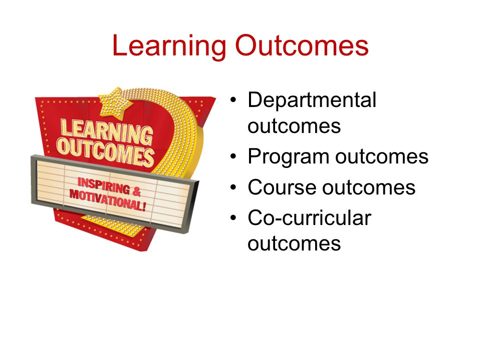 Learning Outcomes Departmental outcomes Program outcomes Course outcomes Co-curricular outcomes