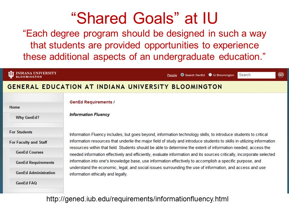 Shared Goals at IU Each degree program should be designed in such a way that students are provided opportunities to experience these additional aspects of an undergraduate education. http://gened.iub.edu/requirements/informationfluency.html