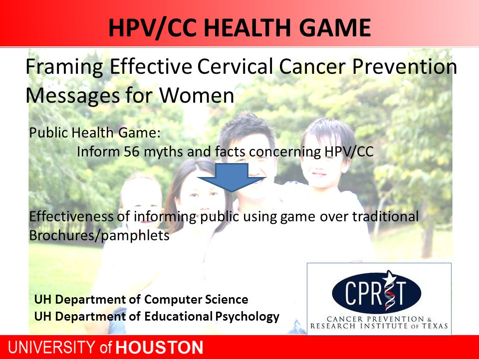 HPV/CC HEALTH GAME Framing Effective Cervical Cancer Prevention Messages for Women UH Department of Computer Science UH Department of Educational Psychology Public Health Game: Inform 56 myths and facts concerning HPV/CC Effectiveness of informing public using game over traditional Brochures/pamphlets