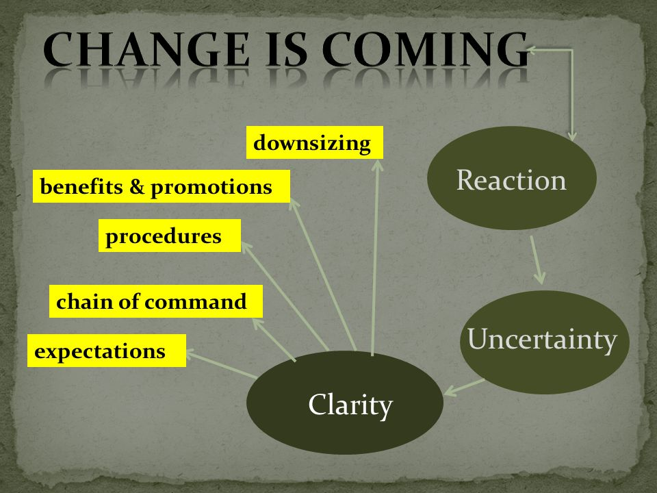 Reaction Uncertainty Clarity downsizing benefits & promotions procedures chain of command expectations