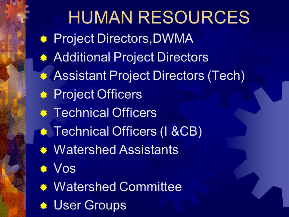 HUMAN RESOURCES  Project Directors,DWMA  Additional Project Directors  Assistant Project Directors (Tech)  Project Officers  Technical Officers 