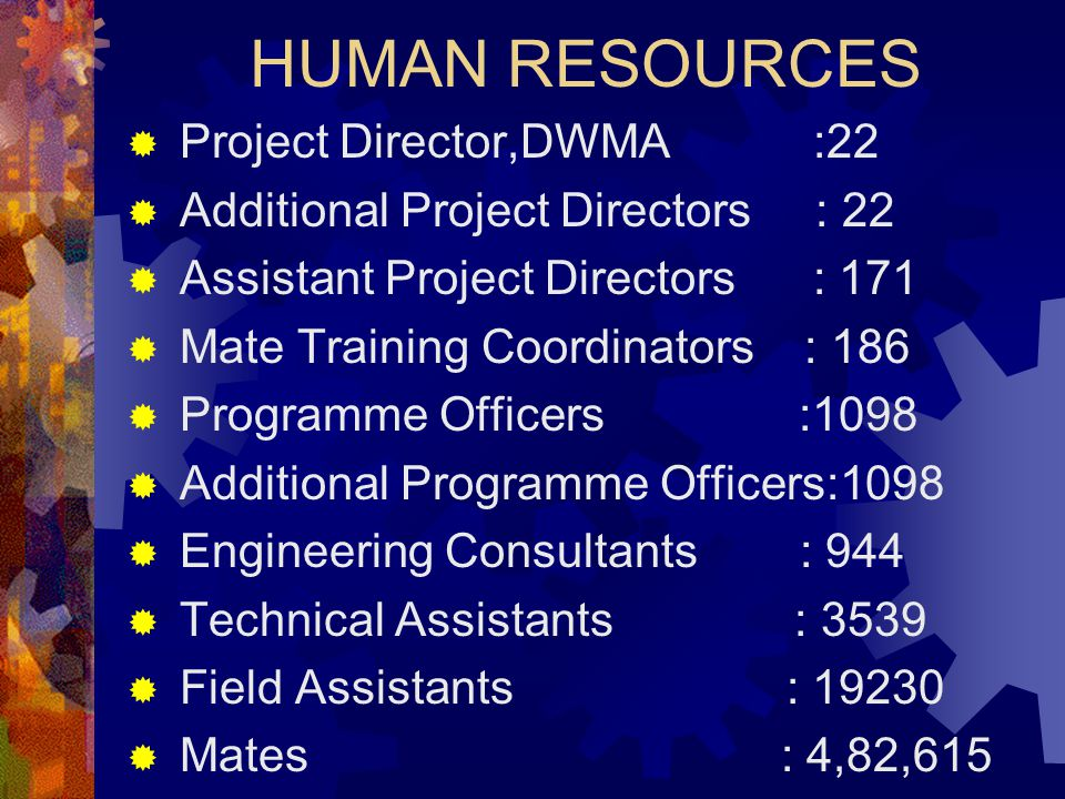 HUMAN RESOURCES  Project Director,DWMA :22  Additional Project Directors : 22  Assistant Project Directors : 171  Mate Training Coordinators : 186