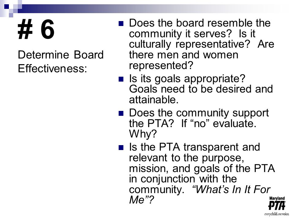 # 6 Does the board resemble the community it serves.