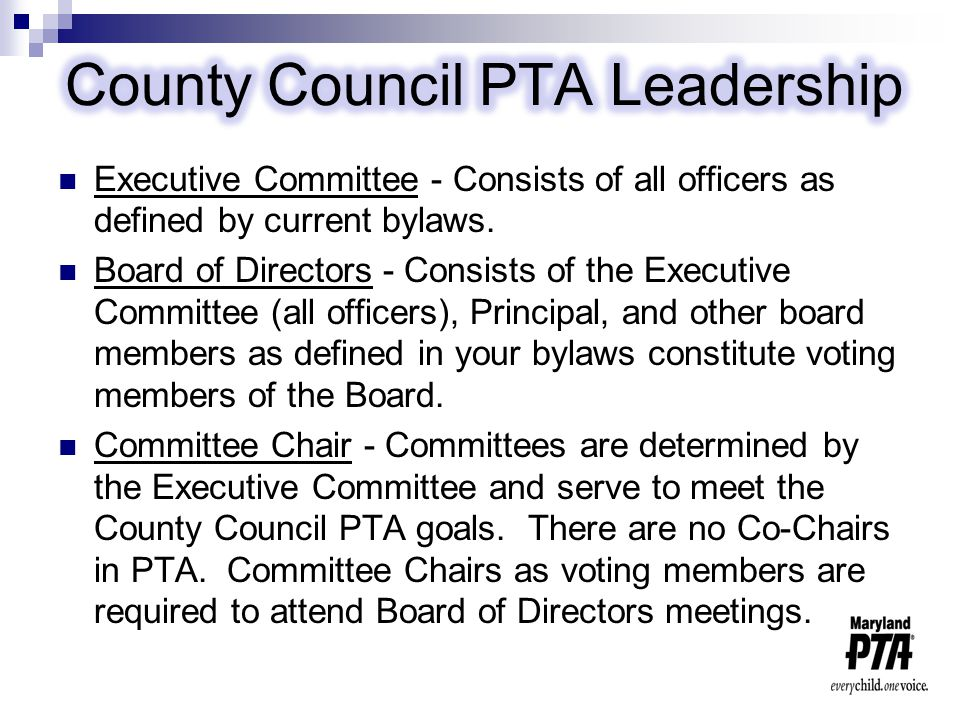 Local PTA Delegate - Voting member of council.Expected to attend general monthly meetings.