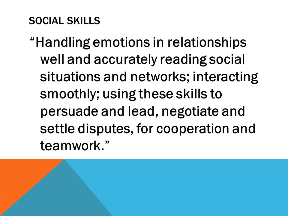 SOCIAL SKILLS Handling emotions in relationships well and accurately reading social situations and networks; interacting smoothly; using these skills to persuade and lead, negotiate and settle disputes, for cooperation and teamwork.