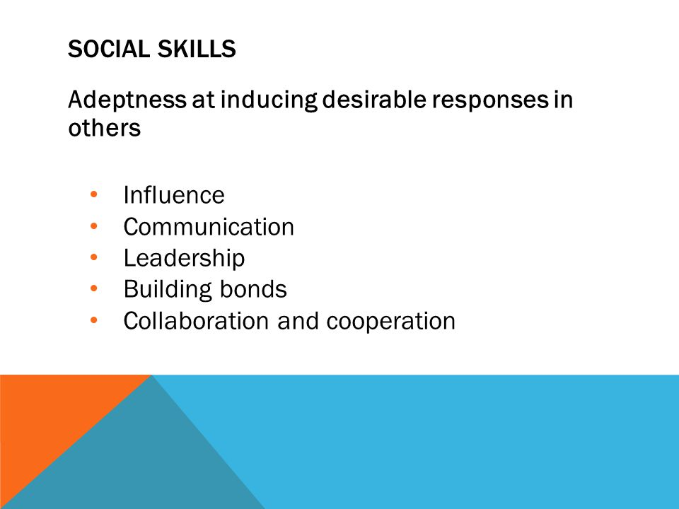 SOCIAL SKILLS Adeptness at inducing desirable responses in others Influence Communication Leadership Building bonds Collaboration and cooperation