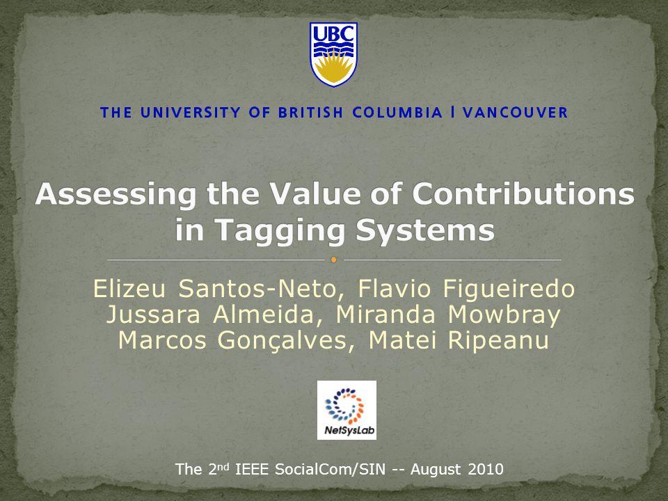 Elizeu Santos-Neto, Flavio Figueiredo Jussara Almeida, Miranda Mowbray Marcos Gonçalves, Matei Ripeanu The 2 nd IEEE SocialCom/SIN -- August 2010