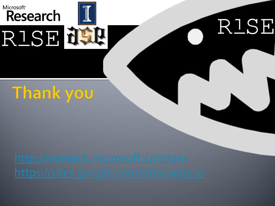 http://research.microsoft.com/pex https://sites.google.com/site/asergrp/