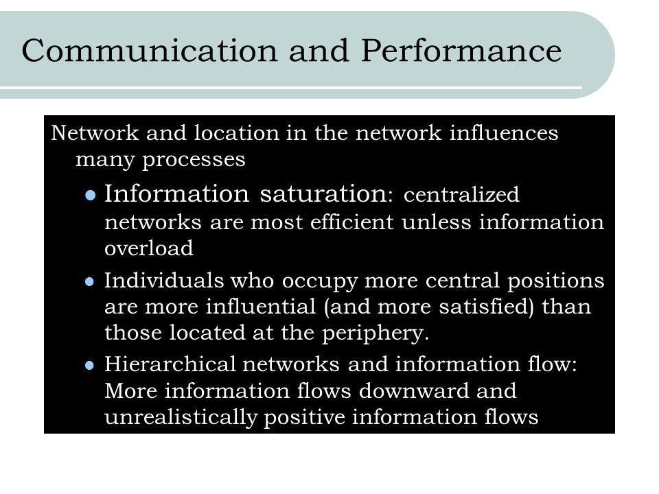 Communication and Performance Network and location in the network influences many processes Information saturation : centralized networks are most eff