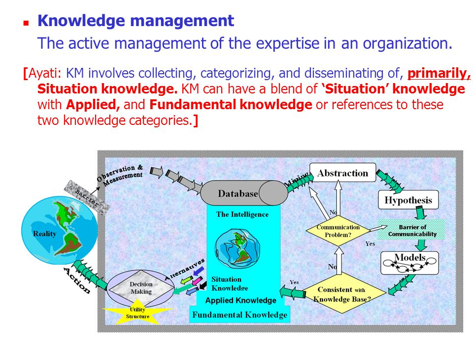 Knowledge management The active management of the expertise in an organization.