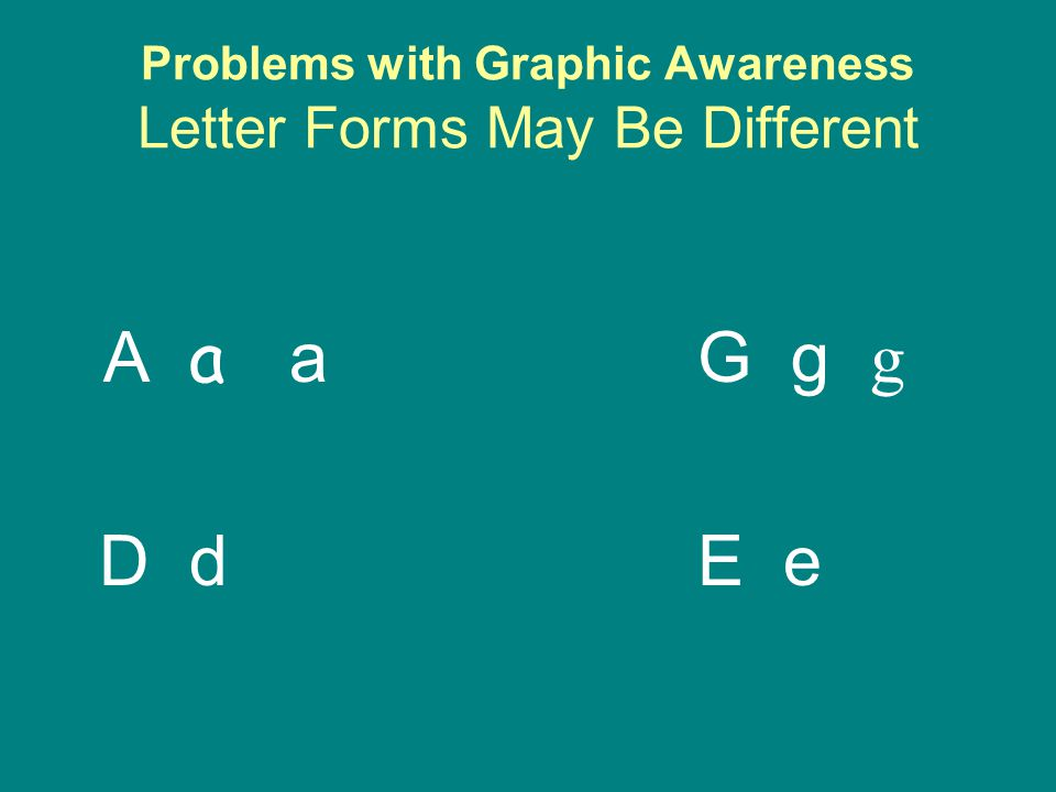 Problems with Graphic Awareness Letter Forms May Be Different A a aG g g D dE e