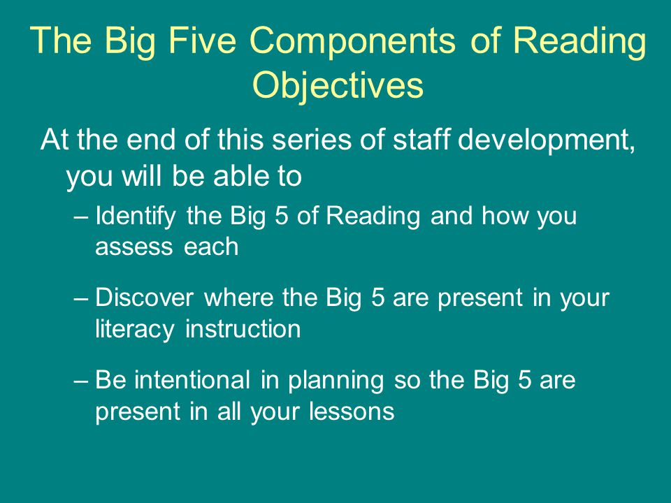 The Big 5 Components of Reading Phonological Awareness Fluency Comprehension Phonics Vocabulary