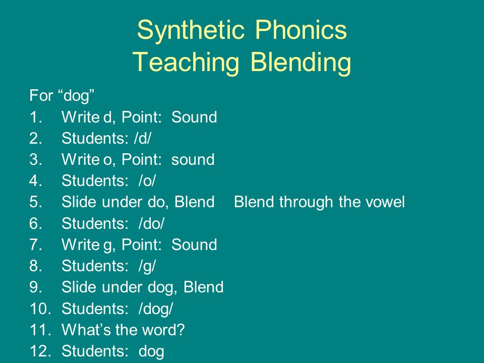 """Synthetic Phonics Teaching Blending For """"dog"""" 1.Write d, Point: Sound 2.Students: /d/ 3.Write o, Point: sound 4.Students: /o/ 5.Slide under do, Blend"""
