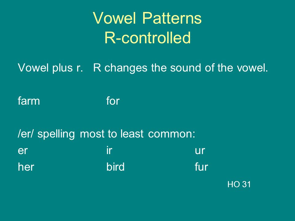 Vowel Patterns R-controlled Vowel plus r. R changes the sound of the vowel. farmfor /er/ spelling most to least common: erirur herbirdfur HO 31