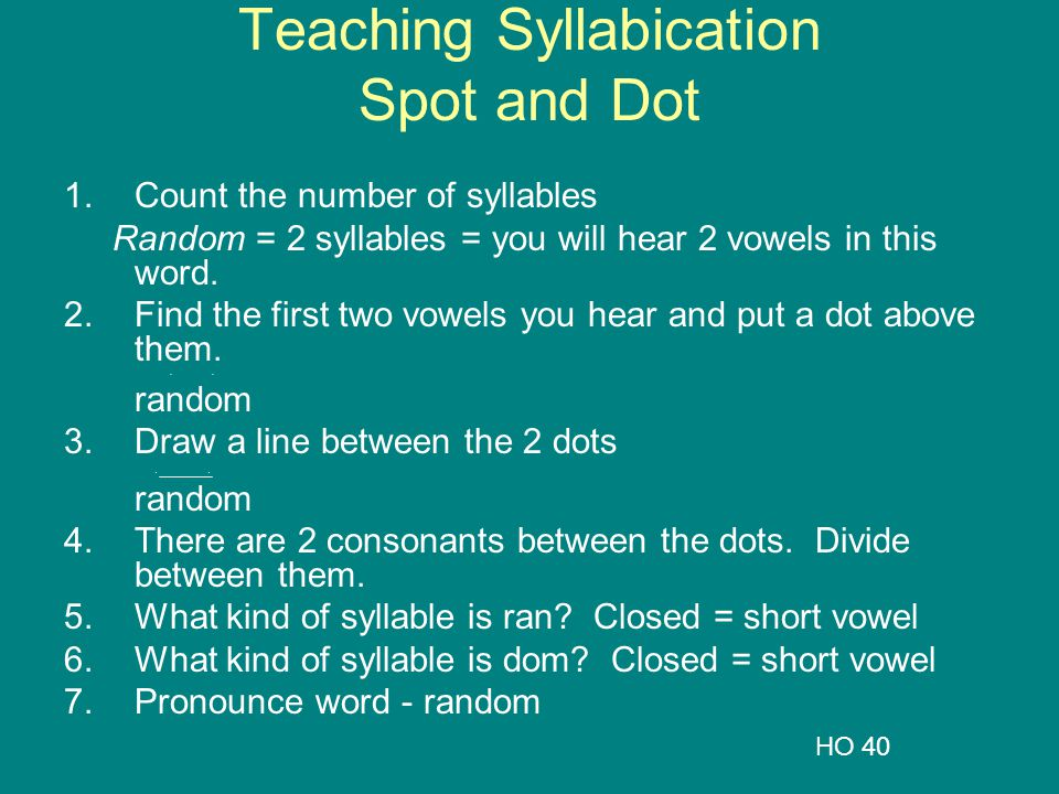 Teaching Syllabication Spot and Dot 1.Count the number of syllables Random = 2 syllables = you will hear 2 vowels in this word. 2.Find the first two v