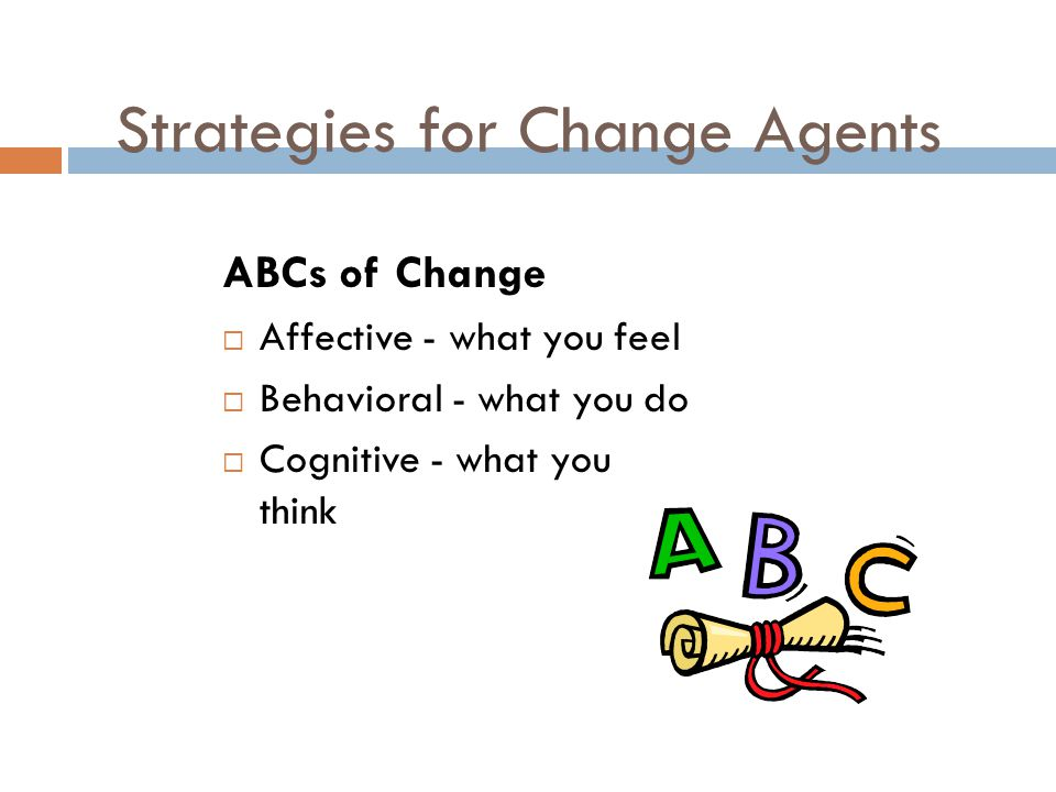Strategies for Change Agents ABCs of Change  Affective - what you feel  Behavioral - what you do  Cognitive - what you think