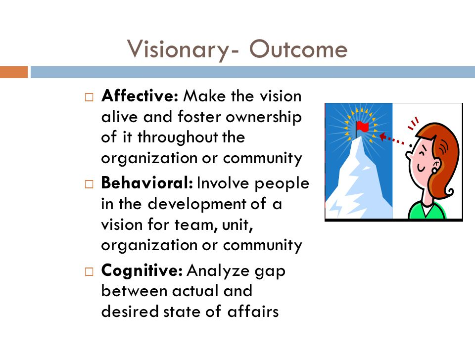 Visionary- Outcome  Affective: Make the vision alive and foster ownership of it throughout the organization or community  Behavioral: Involve people in the development of a vision for team, unit, organization or community  Cognitive: Analyze gap between actual and desired state of affairs